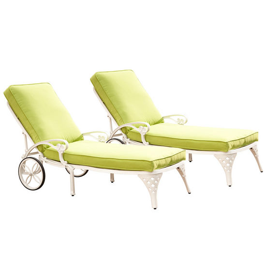 Home Styles Biscayne Chaise Lounge Chairs with Green Apple Cushions, White