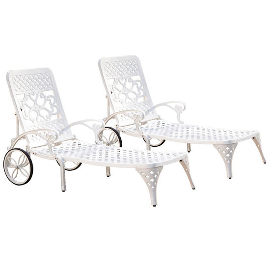 Home Styles Biscayne Chaise Lounge Chairs, Pair, White