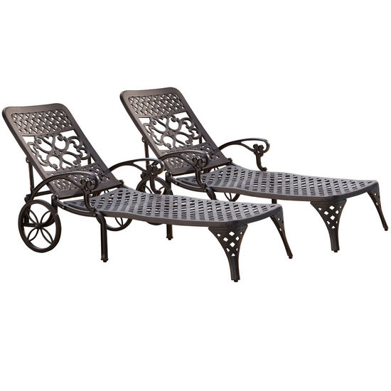 Home Styles Biscayne Chaise Lounge Chairs, Pair, Black