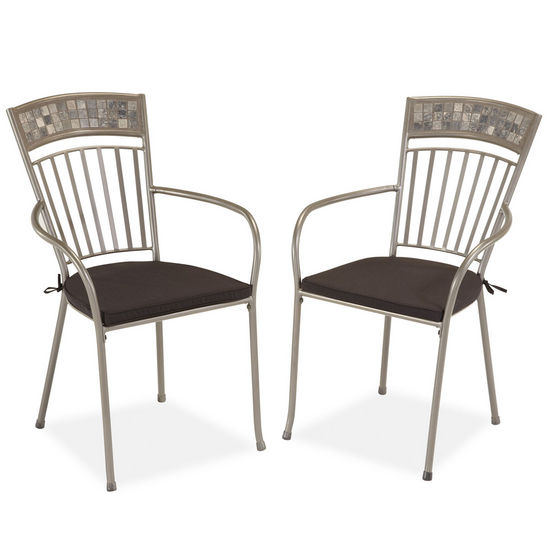 Home Styles Glen Rock Marble Dining Chairs w/ Cushions, Pair