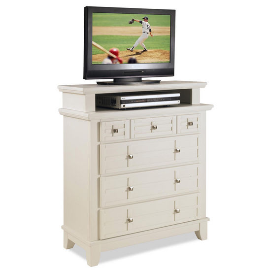 "Home Styles Arts & Crafts TV Media Chest, White Finish, 36""W x 16""D x 42""H"