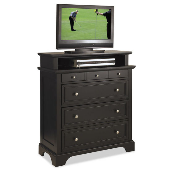 "Home Styles Bedford TV Media Chest, Black Finish, 36""W x 16""D x 42""H"