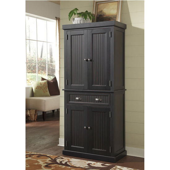 Home Styles Nantucket Pantry, Distressed Black