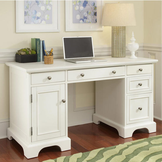 "Home Styles Naples Pedestal Desk, White Finish, 54""W x 24""D x 30-1/4""H"