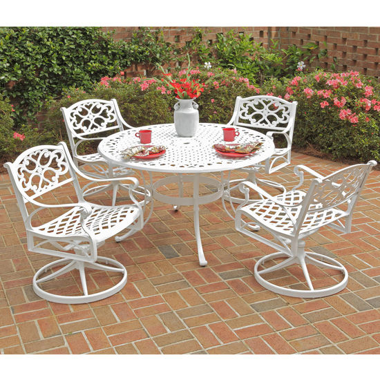 "Home Styles Biscayne 5-Pc. Dining Set w/ 42"" Table & Four Swivel Chairs, White Finish, 42""W x 42""D x 29""H"