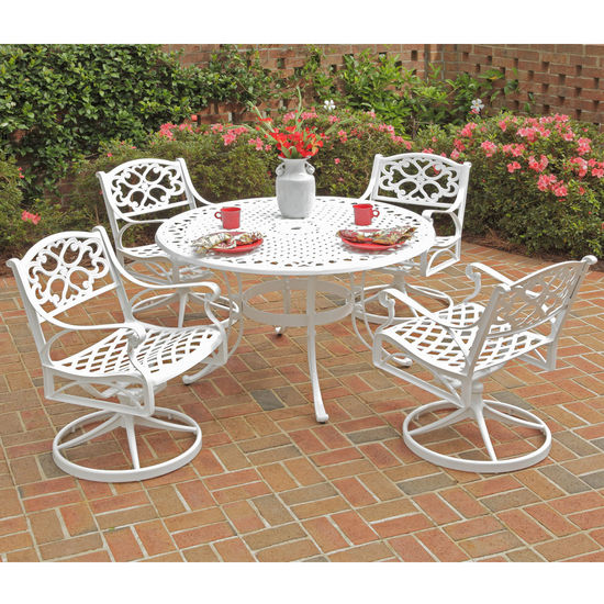 "Home Styles Biscayne 5-Pc. Dining Set w/ 48"" Table & Four Swivel Chairs, White Finish, 48""W x 48""D x 29""H"