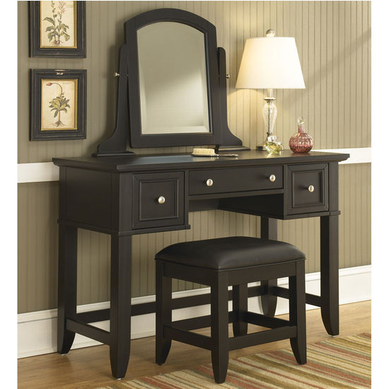 Home Styles Bedford Black Vanity Table, Mirror & Bench