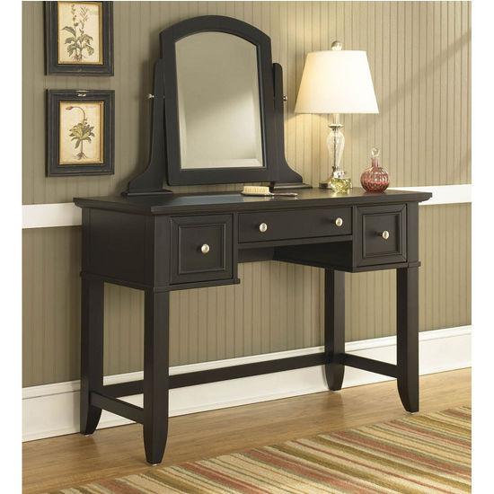 Home Styles Bedford Black Vanity Table Mirror Bench