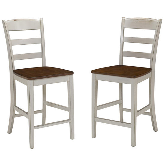 Home Styles Monarch Stool, Antique White Sanded Distressed Finish