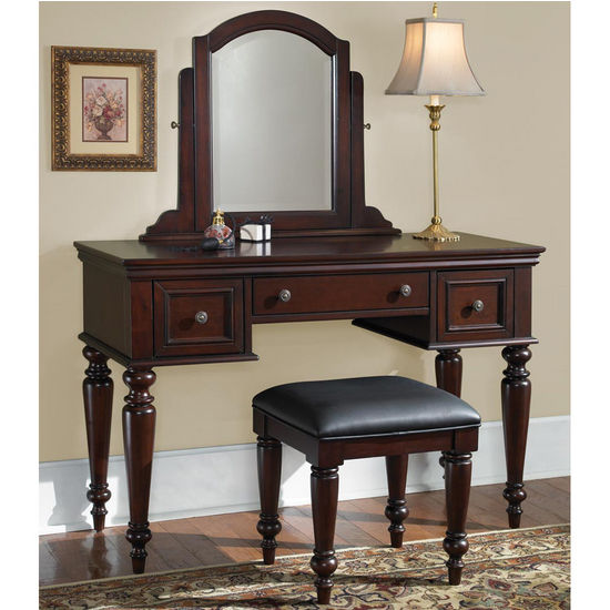 Home Styles Lafayette Vanity Table, Mirror & Bench, Cherry