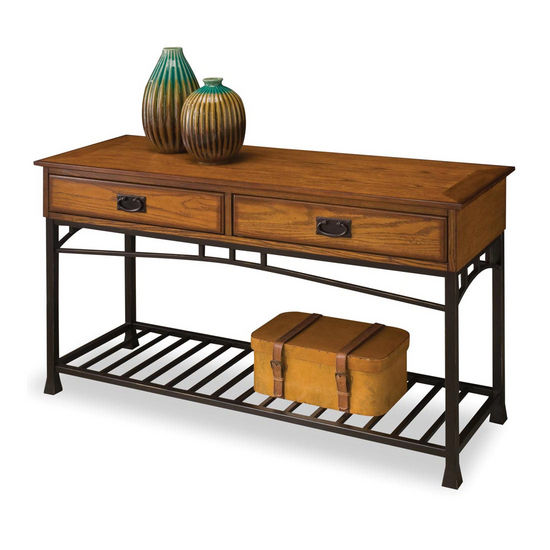 Home Styles Modern Craftsman Console Sofa Table, Oak