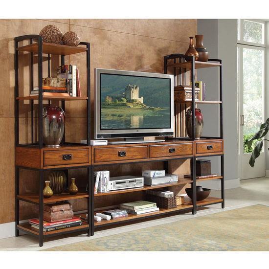 Home Styles Modern Crafts 3-Pc. Gaming Entertainment Center, Oak
