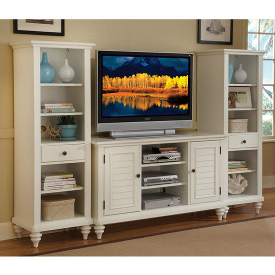 Home Styles Bermuda 3-Pc. Entertainment Center, Textured Brushed White