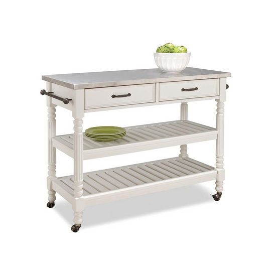 Beau Home Styles Savannah Cart With Stainless Steel Top, White