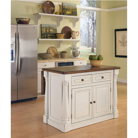 Home Styles Monarch Kitchen Island With Two Stools In