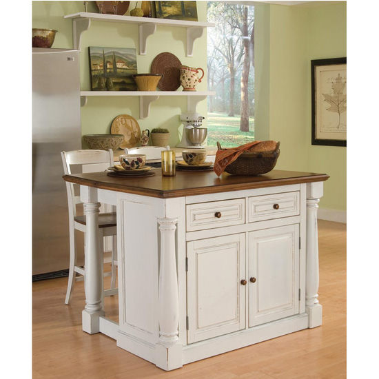 Home Styles Americana White Kitchen Island With Drop Leaf: Home Styles Monarch Kitchen Island With Two Stools In
