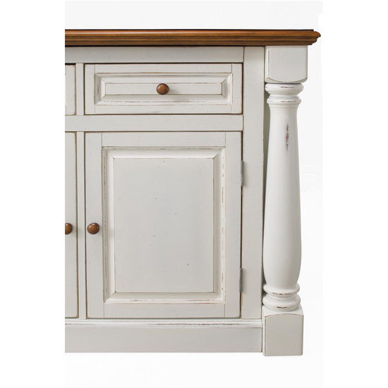Home Styles Monarch Kitchen Island with Two Stools in Antique White ...