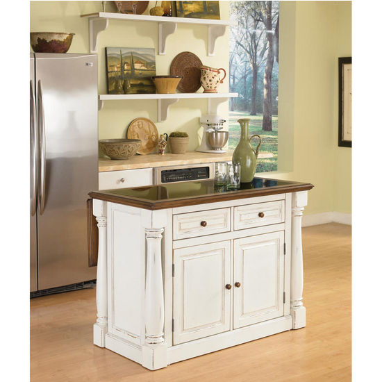 Monarch Kitchen Island with Granite Top and Two Stools, Antique White