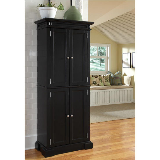 Kitchen Pantry Storage Cabinet Walmart: Home Styles Americana Pantry In Black Or Cherry With Free