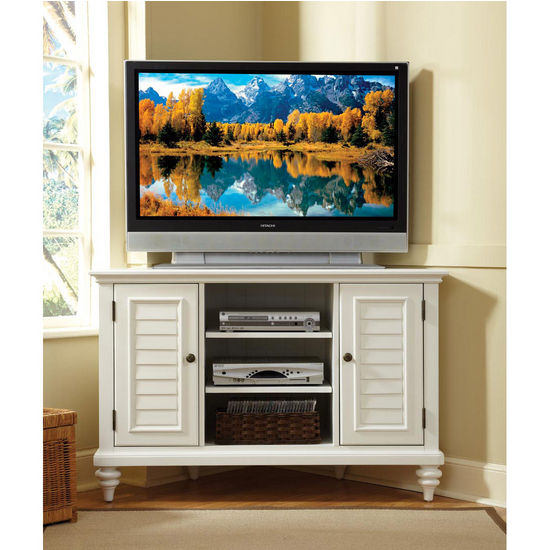 Home Styles Bermuda Corner TV Stand, Textured Brushed White