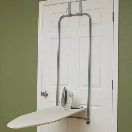 Household Essentials Over-the-Door Board, Satin Silver Steel Tube Frame, 100% Natural Cotton Cover w/ 3mm Fiber Pad