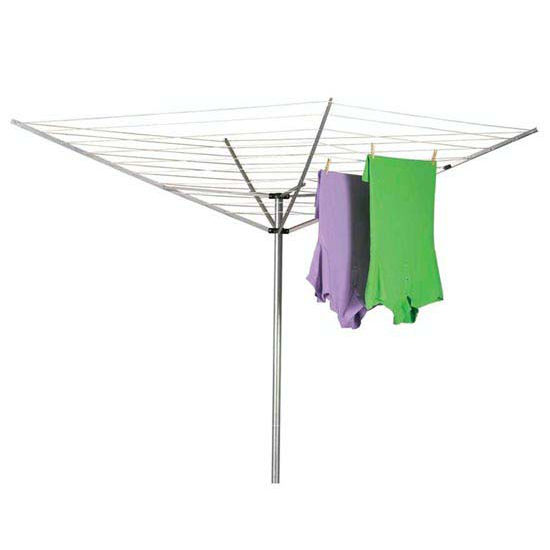 Household Essentials Outdoor Umbrella Dryer - Aluminum Arms, 2Pc Pole, 12-Line 165' Drying Space