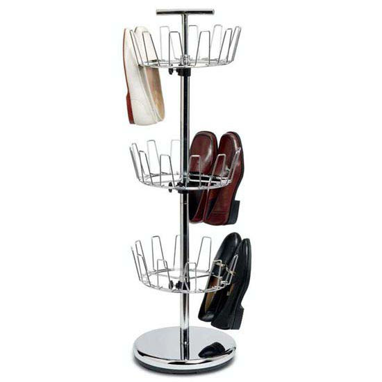 Household Essentials 3-Tier Revolving Shoe Tree, Chrome