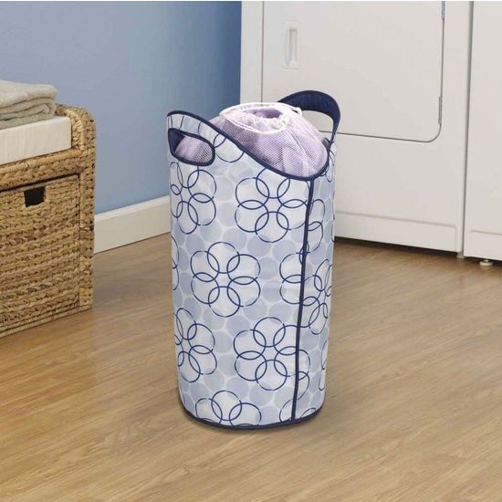 Household Essentials Softside Hamper, Magic Rings Pattern & Dark Blue Liner