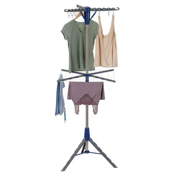 Household Essentials Floor Standing Tripod Air Dryer - Stainless Steel Clad Pole - Plastic Legs/Arms, 2-Tier, 3 Arms W/9 Clips, Rope On Lower Tier