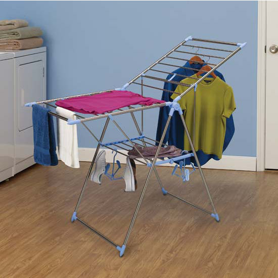Household Essentials Stainless Steel Clad Gullwing Dryer 44' Drying Space (w/2 Shoe Hangers)