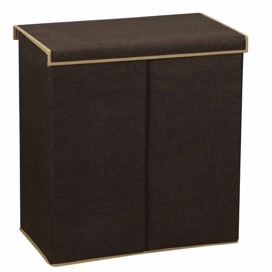 Household Essentials Folding Double Sorter Hamper with Lid, Coffee Linen
