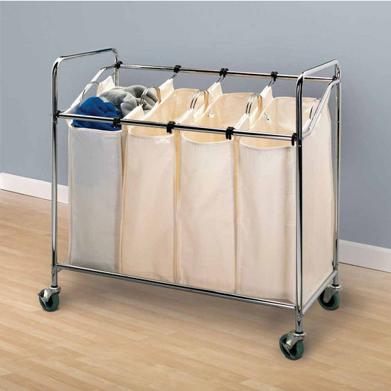 Household Essentials Quad Laundry Sorter with Wheels, Chrome with Natural Liners