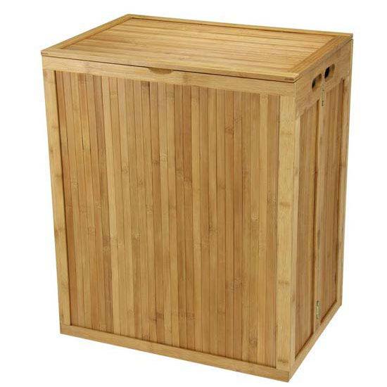 Household Essentials Bamboo Hamper, No Tools, Natural T/C Bag