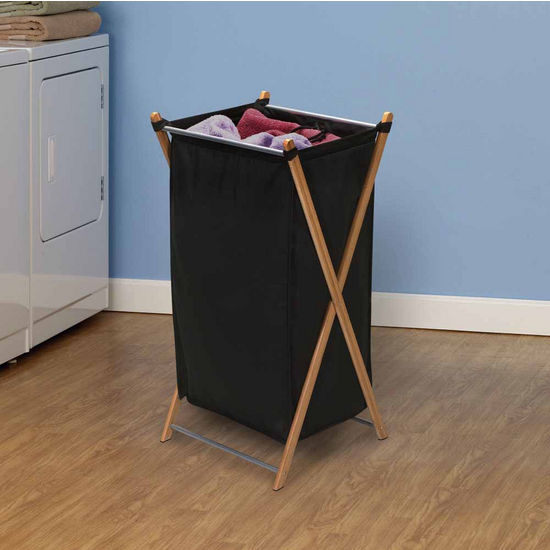 Household Essentials X-Frame Single Laundry Hamper, Bamboo with Black Liners