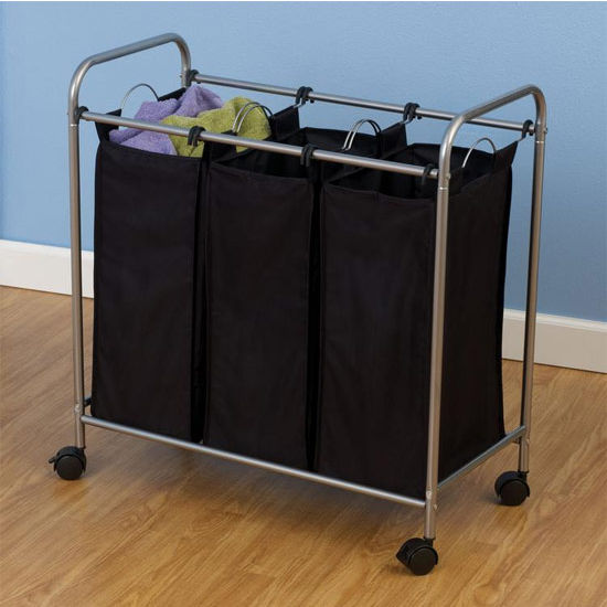 Household Essentials Triple Laundry Sorter, Satin Silver with Natural Liners