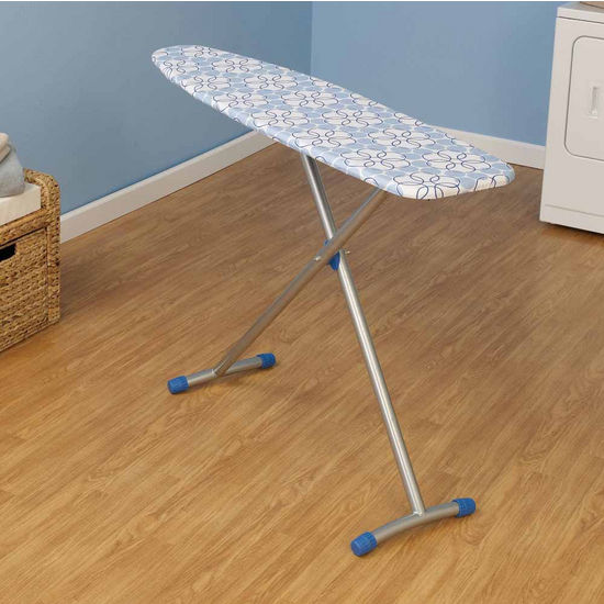 Household Essentials Fibertech Top Ironing Board with Satin Silver T-Leg & Magic Rings Cotton Cover
