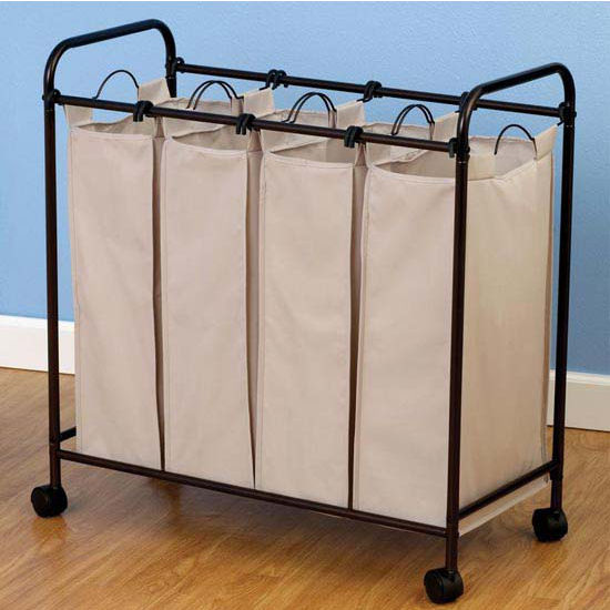 Household Essentials Antique Bronze Quad Sorter, 600D Polyester Natural Flax Color Bags, Casters