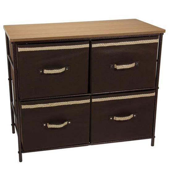 Household Essentials 2 Shelf Storage Unit, Bronze Finish, Hard Top, 4 Cubbies