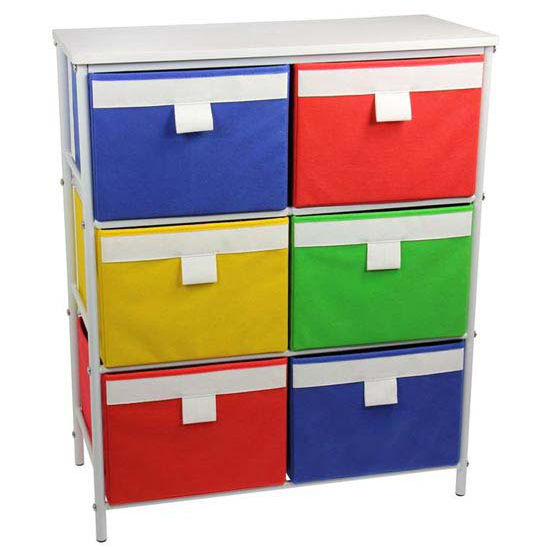 Household Essentials 3 Shelf Storage Unit, Bright White-Hard Top, 6 Cubbies-Bright