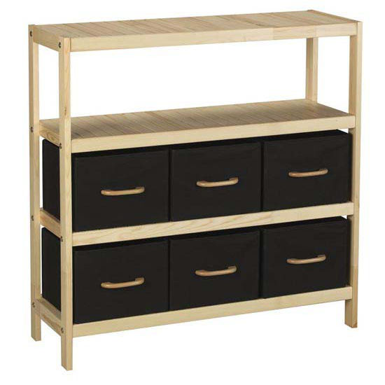 Household Essentials 3 Shelf Wood, 6 Cubbies