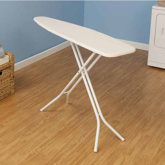 Household Essentials Fibertech Top Ironing Board with White 4-Leg & Solid Blue/New York Stripe Cotton Cover