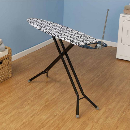 Household Essentials Fibertech Top Ironing Board with Black 4-Leg with Grey Plastic Ends, Imperial Cotton Cover