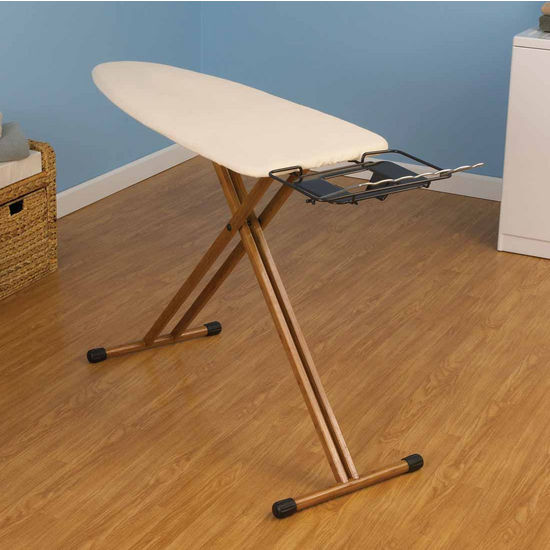 Household Essentials Fibertech Widetop Ironing Board with Bamboo Legs, Cotton Cover