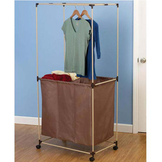 """Household Essentials No Tools Almond Finish Laundry Center, 1 Piece 3-Compartment 420D Polyester Mocha Bag, 1.5"""" Casters"""