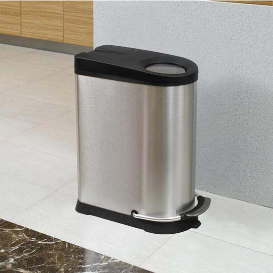 Household Essentials 10.5 Gallon (40 Liter) Rectangular Viva Step Bin/PP Lid And Single Liner, Soft Close