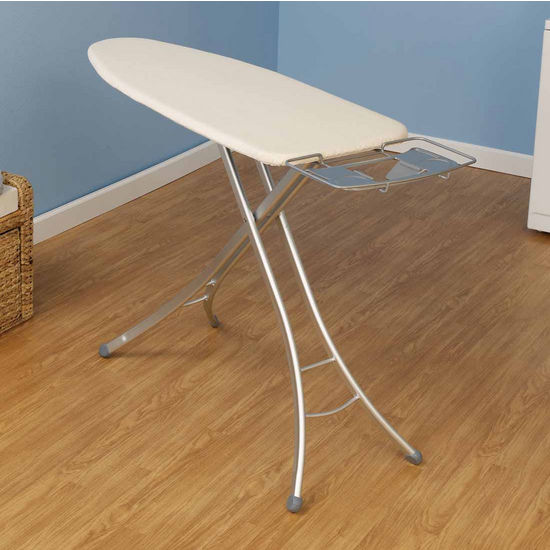 Household Essentials Fibertech Widetop Ironing Board with Aluminum 4-Leg & Natural Cotton Cover