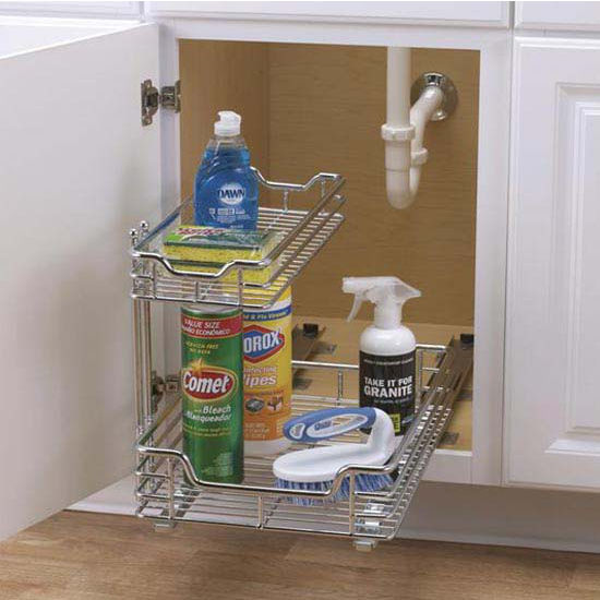 "Household Essentials 12"" Under Sink Sliding Organizer-KD Chrome Single Pack"