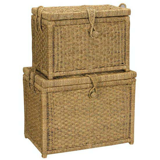 Household Essentials Large Seagrass Chest w/Woven Button (Set of 2) 1 Large, 1 Small