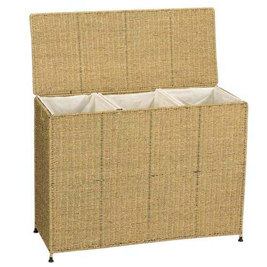 Household Essentials Seagrass KD Triple Sorter w/ Removable Bags & Casters