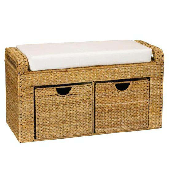 Household Essentials Banana Leaf Natural-Storage Seat w/Cushion-2 Drawers